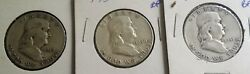 1949, 1950 And 1951 P Ben Franklin Half Dollars 3 Coin Lot- 90 Silver
