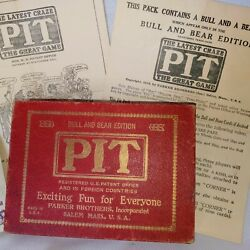 Vintage Pit Bull And Bear Edition Parker Brothers 1919 Card Game Complete Clean