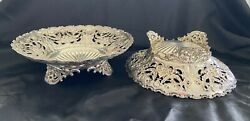 Pair Of 19th C. Whiting Sterling Silver Louis Xv Pierced Footed Bowls / Bon Bons