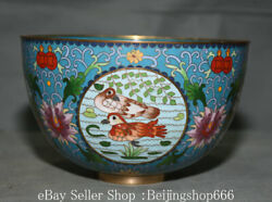7 Old Chinese Copper Cloisonne Dynasty Palace Flower Mandarin Duck Bowl Bowls
