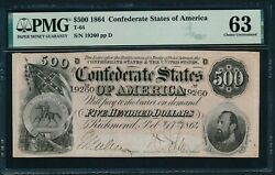T-64 1864 500 Confederate Note Pmg Choice Uncirculated 63