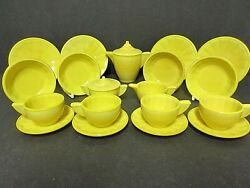 Akro Agate Large Interior Panel 21 Piece Opaque Yellow Childs Tea Set Signed 60