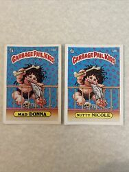 1985 Garbage Pail Kids 2nd Series Mad Donna 50a And Nutty Nicole 50b Gpk