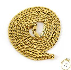 Flat Cuban Curb Link Chain 14k Yellow Gold Necklace 20.5
