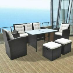 10pieces Outdoor Patio Furniture Rattan Wicker Dining Table Cushioned Chairs Set