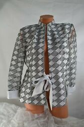 Ramp;M COLLECTIONS 12 Jacket Evening WHITE BLACK Polyester Satin Front Tie Sequin $12.95