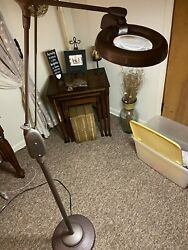 Vintage Industrial Dazor Articulating Floor Lamp With Magnify Light