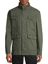 George Menand039s Stretch Field Jacket With Hoodie Green/olive Size Xl 46-48