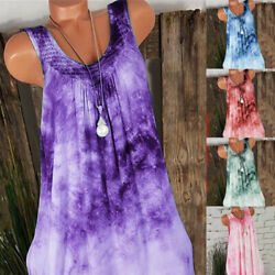Women Summer Lace Sleeveless T Shirt Casual Floral Crew Neck Loose Tank Dress $14.25