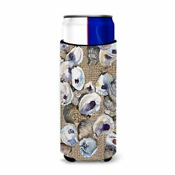 Oyster On Faux Burlap Ultra Beverage Insulators For Slim Cans 8734muk