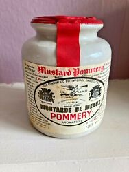 Vintage 1990and039s Pommery Moutarde De Meaux French Mustard Condiment Stoneware Jar