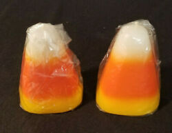 Spooky Hollow Candles Candy Corn Candles - Set Of 2 - From 2002 - 4 Tall New