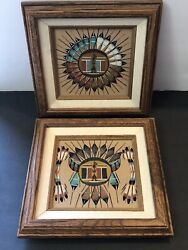 """2 Vintage Sand Paintings Signed Sun Shield And Sun Eagle Framed 9 1/4"""" Aztec"""