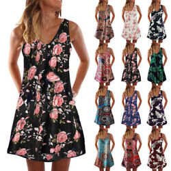Womens Casual Floral Short Dress Beach Sundress Crew Neck Sleeveless Tank Dress $14.34