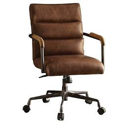 Benzara Metal And Leather Executive Office Chair Retro Brown Retro Brown