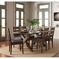 Coaster 5 Piece Dining Set In Gray And Knotty Nutmeg