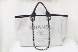 A66941 Deauville Gm 2way Chain Tote Shoulder Bag Leather Light Gray Ex
