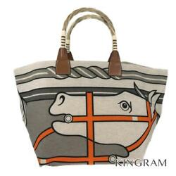 Hermes Steeple □ P Marking Beige Canvas X Leather X Straw Tote Bag From Japan