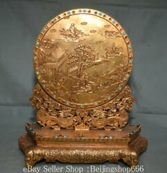 14 Marked Old Chinese Bronze 24k Gold Gilt Inlay Gems Human Tree Dragon Screen
