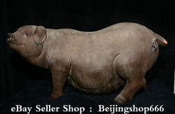 19.6 Chinese Pottery Porcelain Fengshui 12 Zodiac Year Pig Statue Sculpture