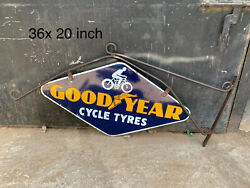 Vintage Good Year Cycle Tyres Double Sided Porcelain Enamel Sign With Bracket