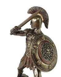 Hector Of Troy 9 1/4 With Sword And Shield Greek Mythology Statue Bronze Color