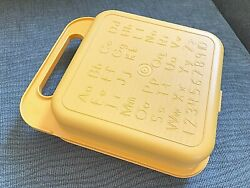 Vtg Tupperware Tuppertoys Toy Stencil Arts Crafts☀yellow Storage Case Pristine