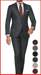 Mens Charcoal Dark Gray Suit Custom Made To Measure Bespoke Suits Cashmere Wool