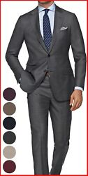 Mens Medium Gray Suit Custom Made To Measure Bespoke Suits Cashmere Wool