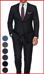 Mens Black Suit Custom Made To Measure Bespoke Tailored Suits Cashmere Wool
