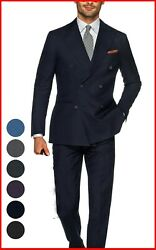 Mens Navy Blue Double Breasted Suit Custom Made To Measure Bespoke Suits
