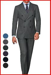 180s Italian Wool Gray Double Breasted Suit Custom Made To Measure Bespoke Suits