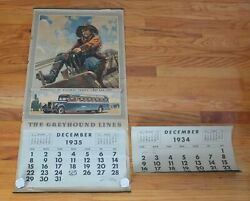 Rare Antique Complete 1935 Greyhound Bus Calendar Pioneers Of Highway Travel