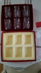 Set Of 6 Baccarat Harcourt Old Fashion Crystal Glasses W/ Case, New Old Stock