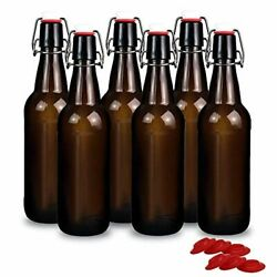 Yeboda 16 Oz Amber Glass Beer Bottles For Home Brewing With Flip Caps Case Of 6