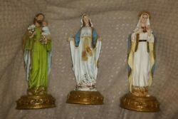 3 Catholic Figurines Our Lady Of Grace / Immaculate Heart Of Mary / St Joseph