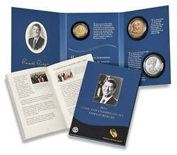 Coin And Chronicles Set Ronald Reagan W/ Reverse Proof/silver Eagle/medal Ogp