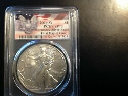 2019-w Burnished Ase Silver Eagle Pcgs Sp70 First Day Of Issue Fdoi