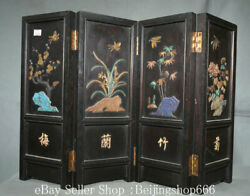 21 Collect Old Chinese Lacquerware Wood Inlay Shell Dynasty Andldquo梅兰竹菊andrdquo Screen