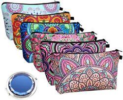 Beauty Cosmetic Bags For Women 6 Pieces Waterproof Makeup Pouches Bulk With Mirr $19.44