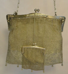 Antique 800 Sterling Silver Mesh Purse German 1800and039s Hand Bag Coin Purse