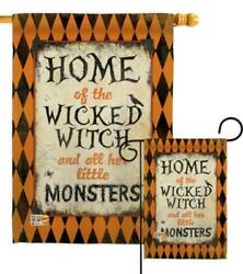 Wicked Home Halloween Witch And All Her Monster Garde - Garden Flag / House Flag