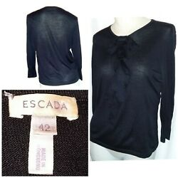 Escada Vintage Jumper Black 42 Silk Cashmere Wool 1960s Bow Chest Ruffle Awesome