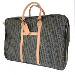 Christian Dior Green Canvas Leather Trotter Monogram Travel Boston Bag Auth