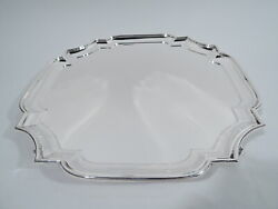George V Salver - Antique Georgian Cartouche Tray - English Sterling Silver