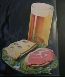1930 Woolworth Glossy Advertising Die Cut Cold Beer With Ham And Cheese Sandwich