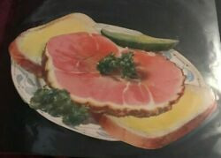 1930 Woolworth Glossy Advertising Die Cut Open Face Ham And Cheese With Pickle