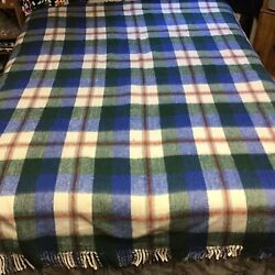 Wool Blend Blanket Thick Rustic Mexican Plaid Heavy Southwest 78x88 King Size