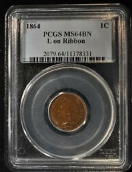 1864 - 1 Cent - Indian Head Penny - Pcgs Ms-64-bn - L On Ribbon - 2079