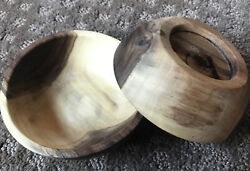 2 Hand Carved Wooden Black Walnut Bowls 4.5 - Sustainably Made In Vermont